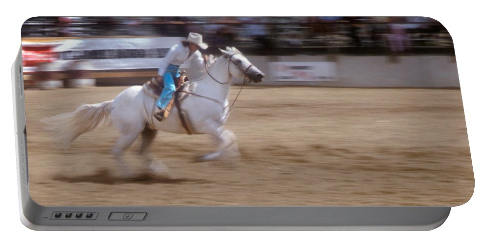 Rodeo Portable Battery Charger featuring the photograph Off To The Races by Jerry McElroy