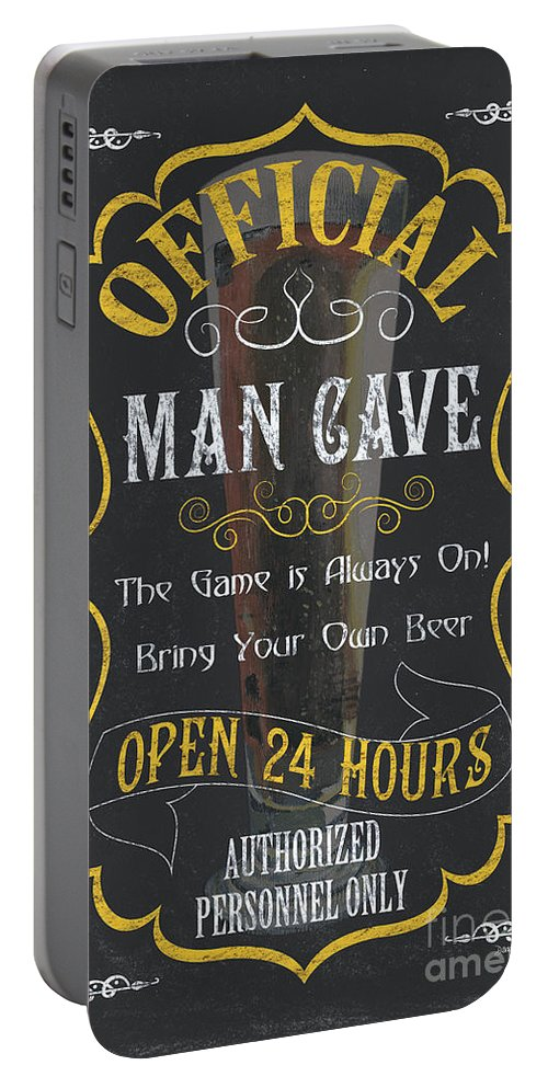Beer Portable Battery Charger featuring the painting Official Man Cave by Debbie DeWitt