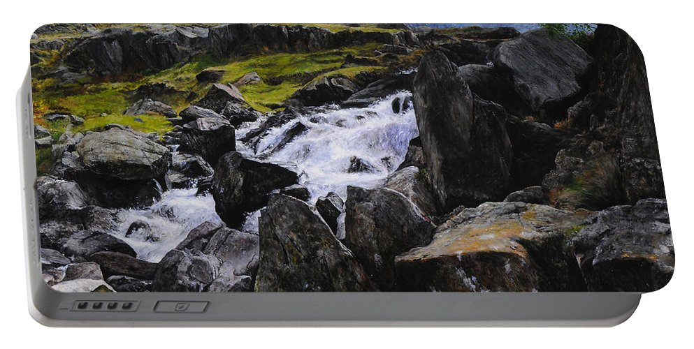 Landscape Portable Battery Charger featuring the painting Ogwen Rock Waterfall by Harry Robertson