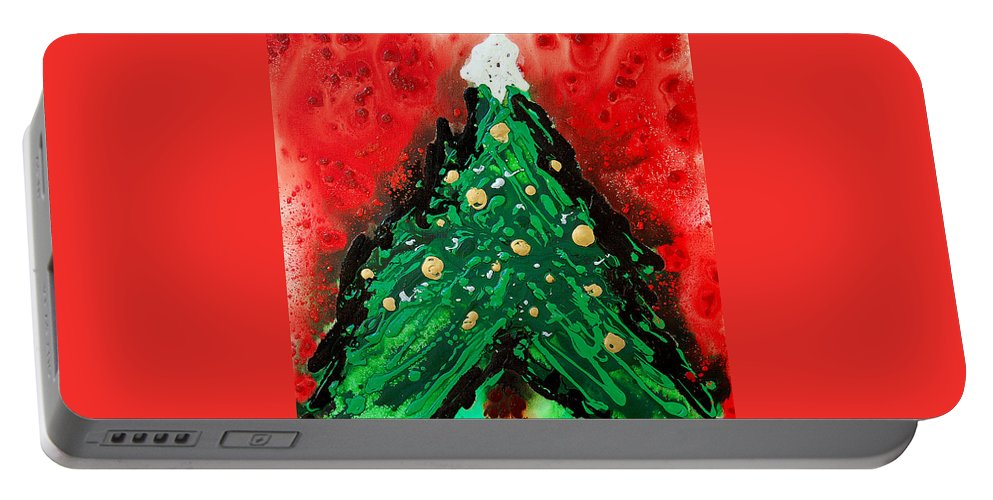 Christmas Portable Battery Charger featuring the painting Oh Christmas Tree by Sharon Cummings