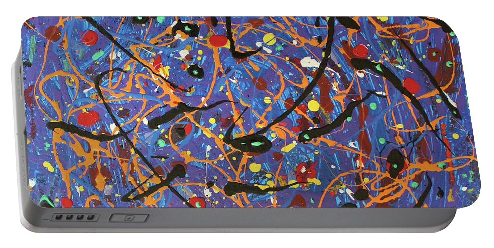 Blue Portable Battery Charger featuring the painting Oh Happy Day by Pam Roth O'Mara