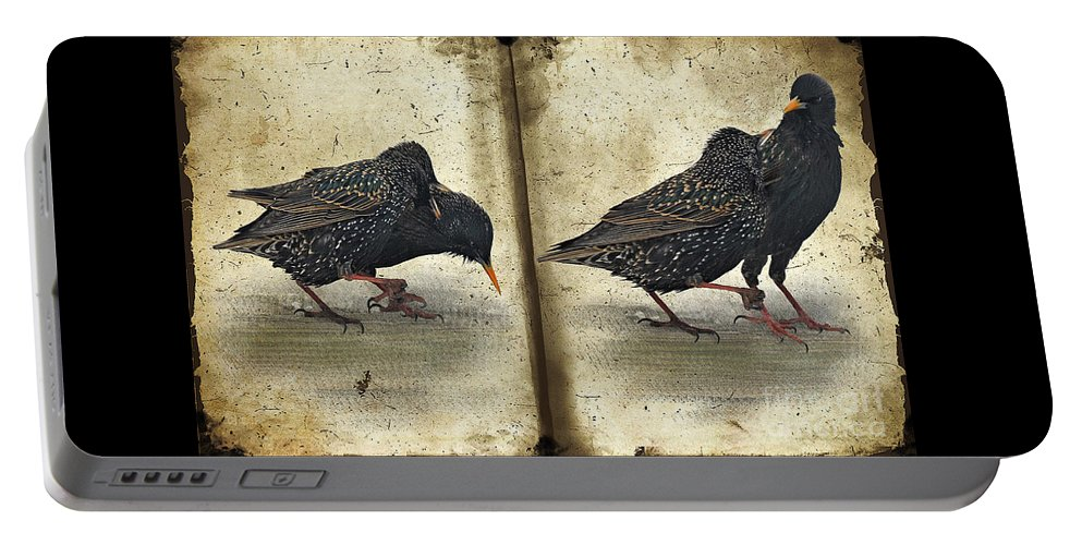 Starlings Portable Battery Charger featuring the photograph Oh No You Didn't by Lois Bryan