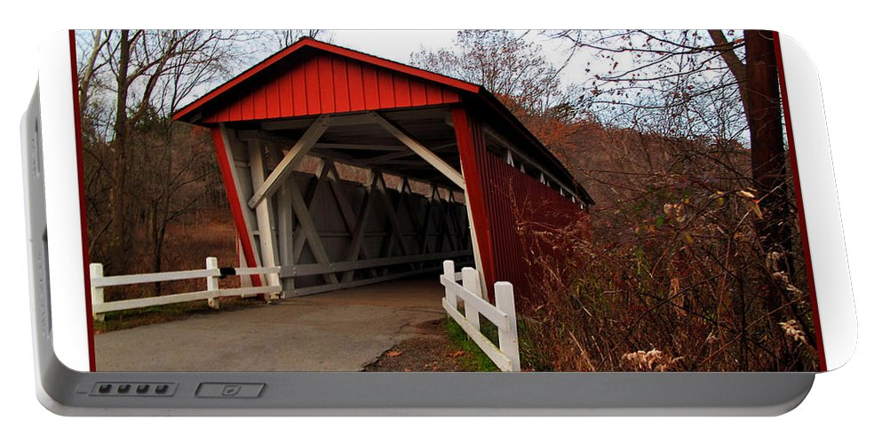 Bridge Portable Battery Charger featuring the photograph Ohio Covered Bridge by Joan Minchak