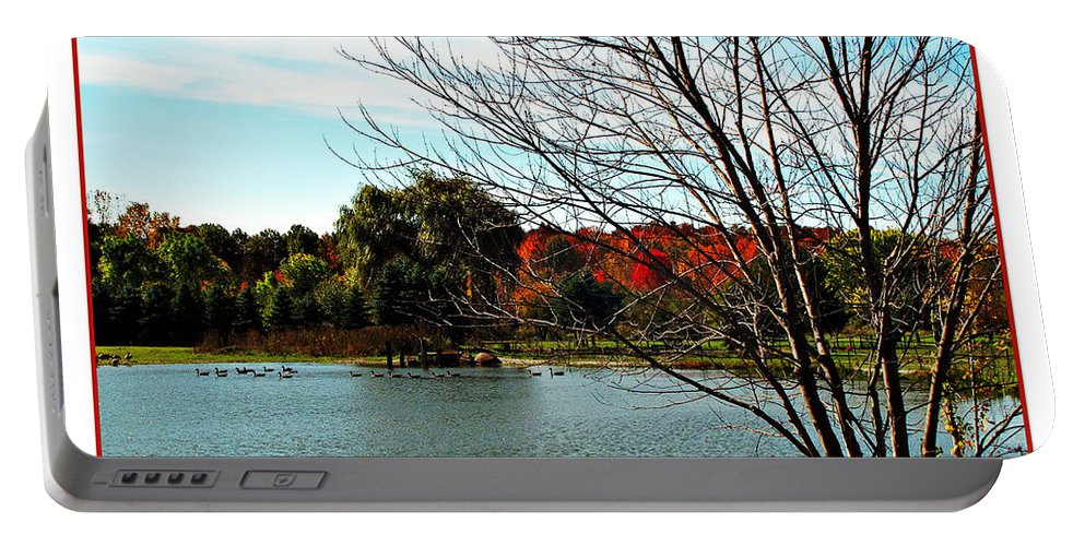 Autumn Portable Battery Charger featuring the photograph Ohio Duck Pond by Joan Minchak
