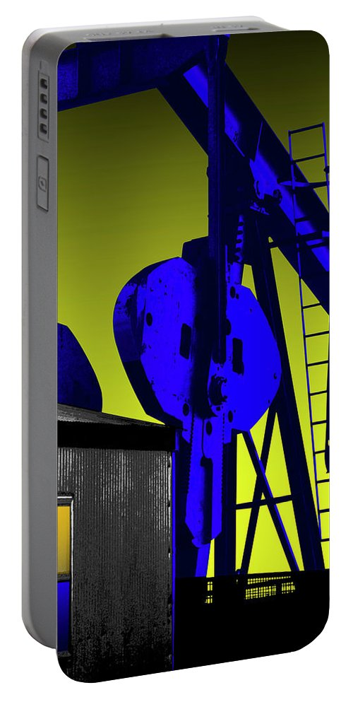 Oil Gas Industry Pump Jack Well Oilfield American America Blue Black Production Platform Drilling Rig Geology Exploration Pipeline Refining Up Down Mid Stream Abstract Petroleum Petrochemical Gas Drill Driller Technology Digital Manipulation Texas Men Decor Art Fine Office Industrial Wells Pumps Graphic Photograph Photo Image Arty Oilwell Offshore Energy Pumpjack Barrel Art Crude Oilman Toolpusher Portable Battery Charger featuring the photograph Oil Industry Well Pump by Dennis Thompson