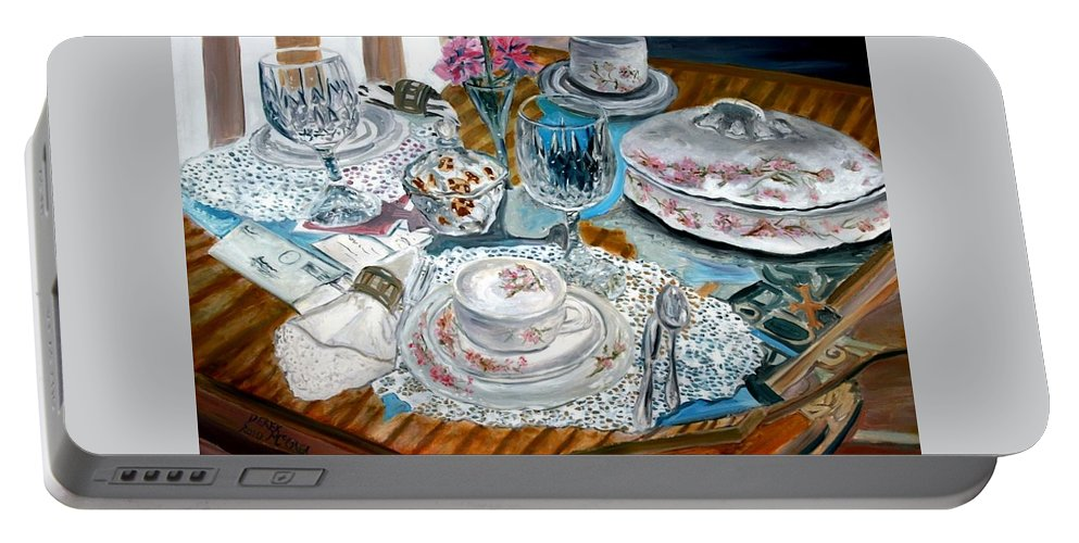 Oil Portable Battery Charger featuring the painting Oil Painting Still Life China Tea Set by Derek Mccrea