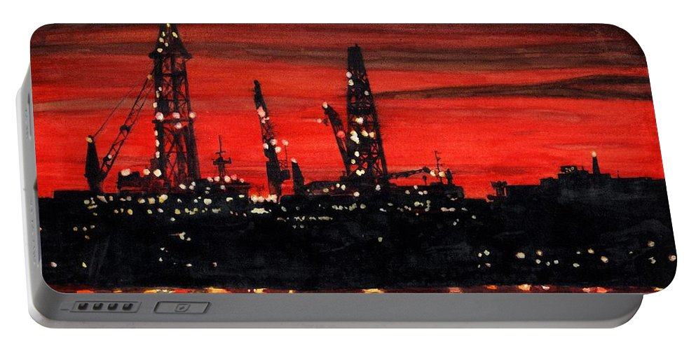 Cityscape Portable Battery Charger featuring the painting Oil Rigs Night Construction Portland Harbor by Dominic White