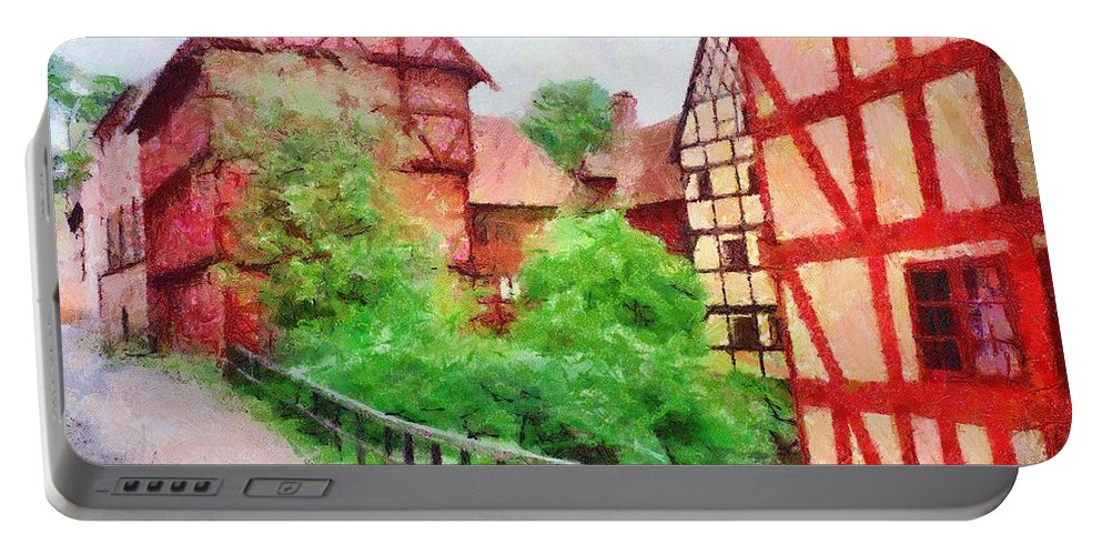 Aarhus Portable Battery Charger featuring the painting Old Aarhus by Jeffrey Kolker