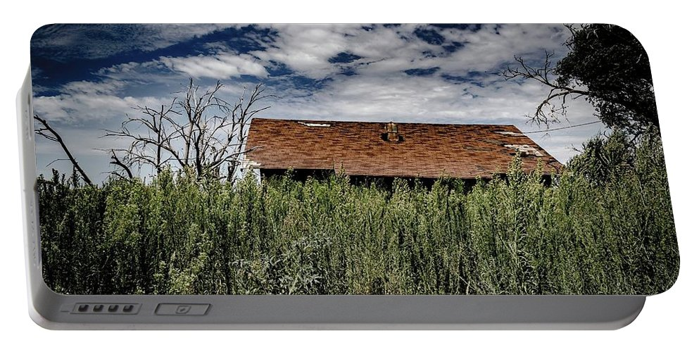 Portable Battery Charger featuring the photograph old abandoned house Texico NM by Anthony Lindsay