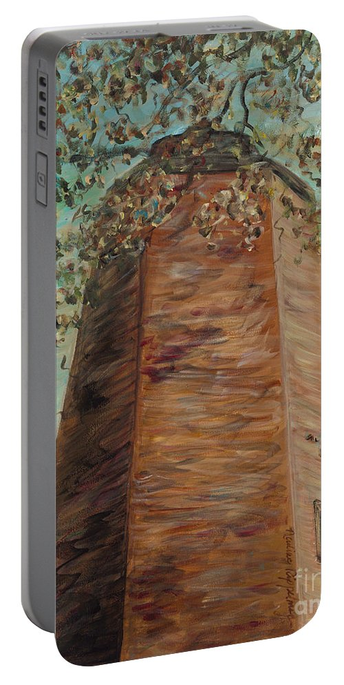 Old Baldy Portable Battery Charger featuring the painting Old Baldy Light House in Teal by Nadine Rippelmeyer