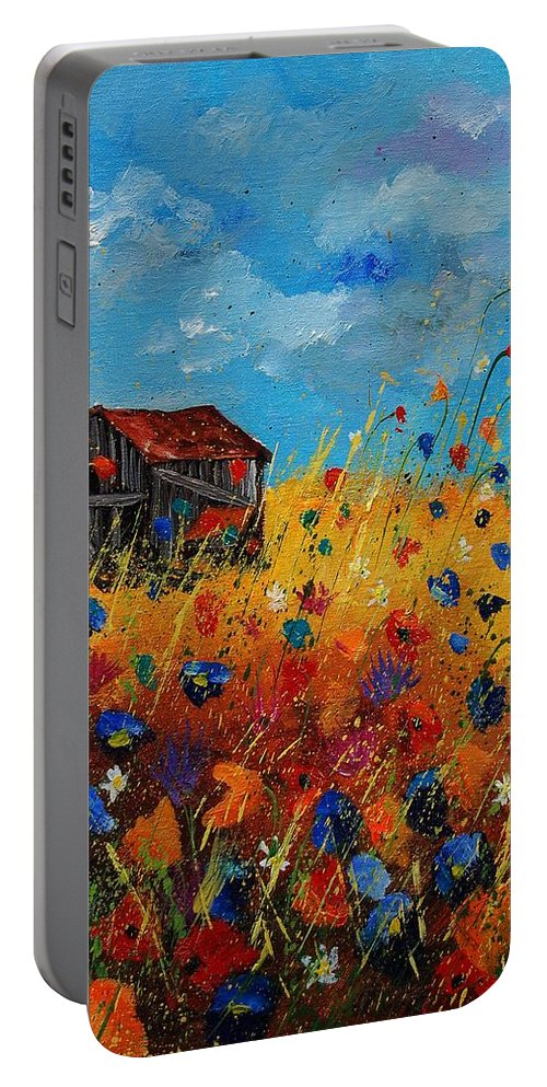 Flowers Portable Battery Charger featuring the painting Old Barn And Wild Flowers by Pol Ledent