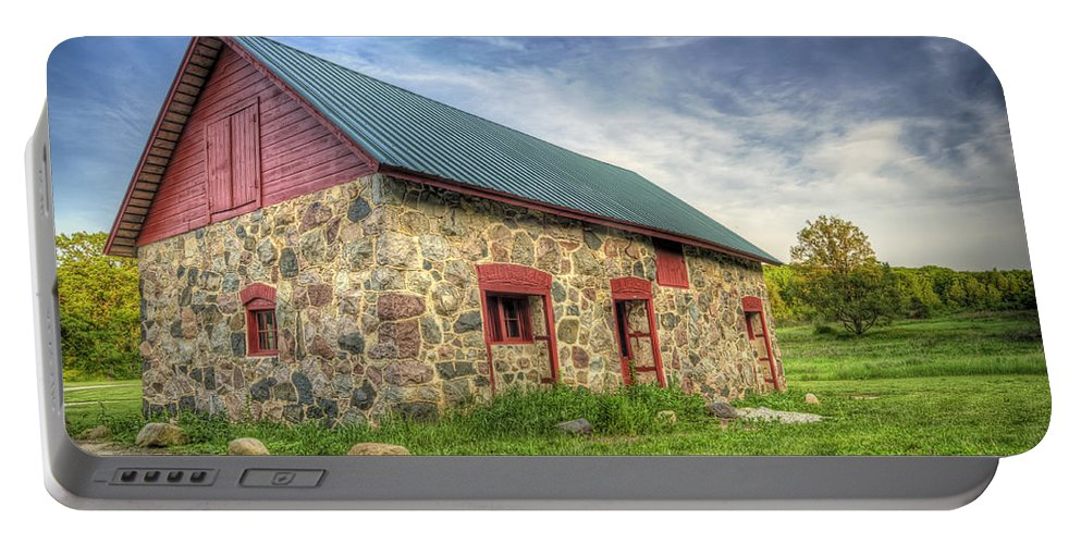 Barn Portable Battery Charger featuring the photograph Old Barn At Dusk by Scott Norris
