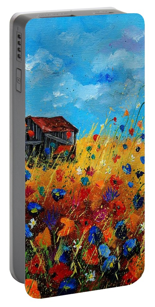 Poppies Portable Battery Charger featuring the painting Old Barn by Pol Ledent