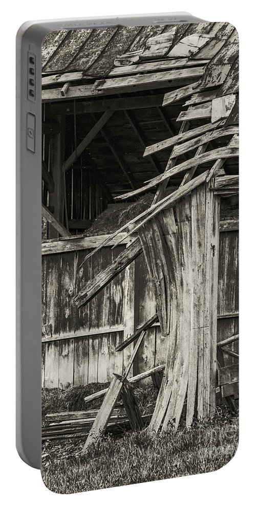 New Castle Virginia Barn Barnss Texture Textures Black And White Architecture Ruin Ruins Black And White Sepia Portable Battery Charger featuring the photograph Old Barn Ruin 3 by Bob Phillips