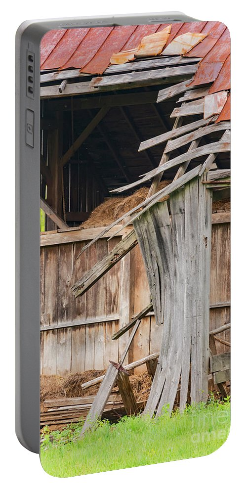 New Castle Virginia Barn Barnss Texture Textures Black And White Architecture Ruin Ruins Portable Battery Charger featuring the photograph Old Barn Ruin by Bob Phillips