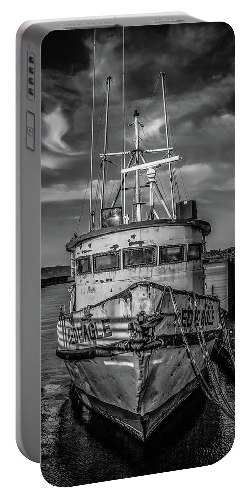 Boats Portable Battery Charger featuring the photograph Old Battered Fishing Boat by Jason Brooks