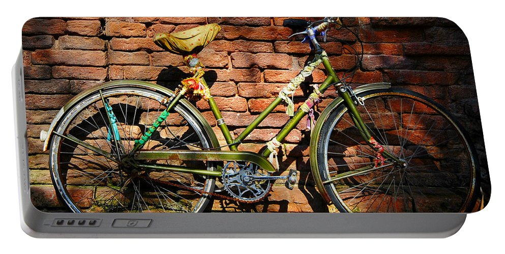 Old Bicycle Portable Battery Charger featuring the photograph Old Bike And Bricks by David Lee Thompson