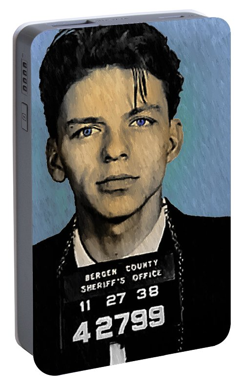 Old Blue Eyes Portable Battery Charger featuring the digital art Old Blue Eyes - Frank Sinatra by Digital Reproductions