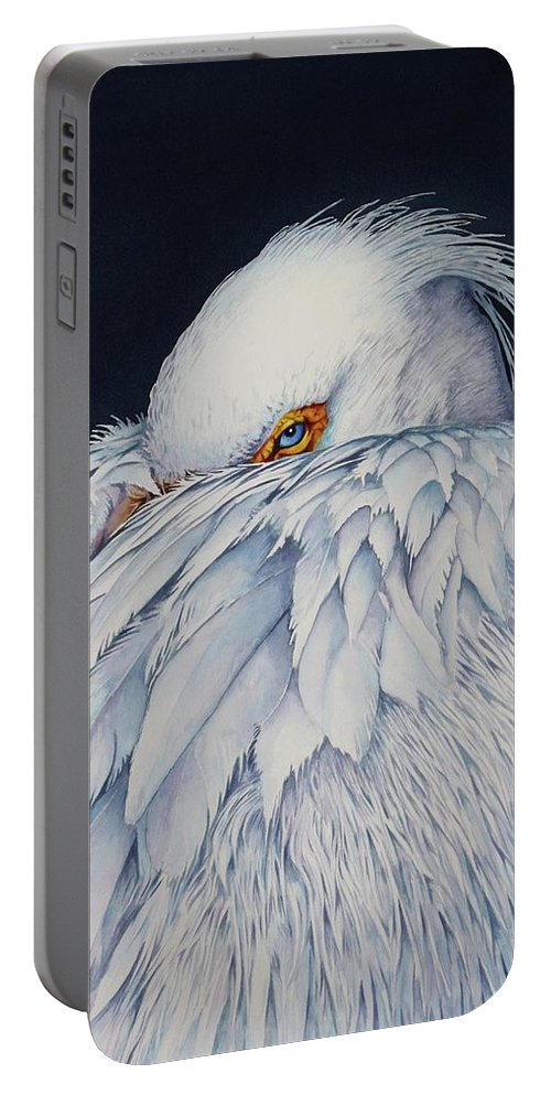 Pelican Portable Battery Charger featuring the painting Old Blue Eyes by Greg and Linda Halom