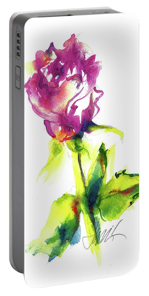 Painting Of Pink Rose Portable Battery Charger featuring the painting Old Blush - Rose by Jacki Kellum