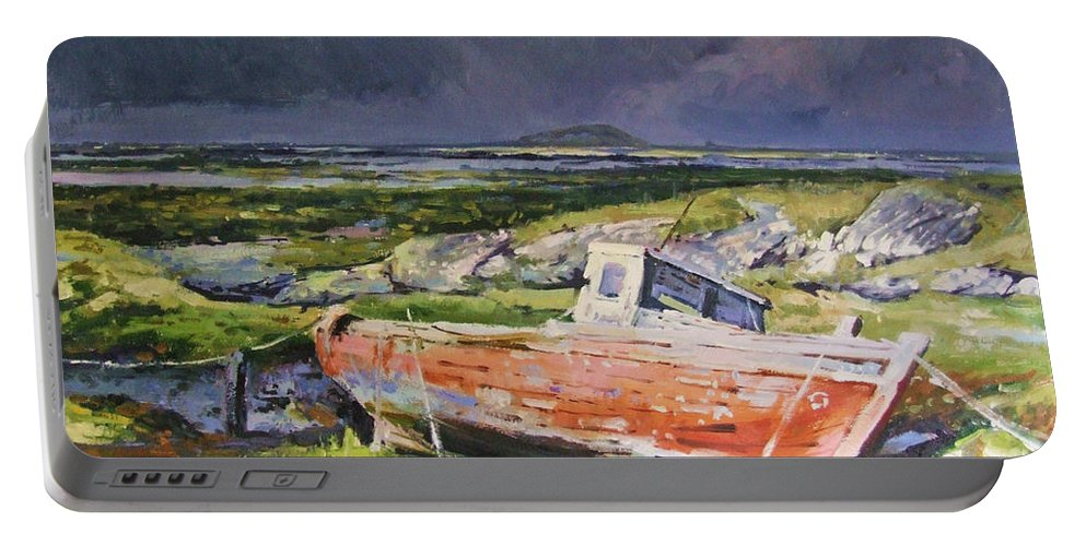 Rustic Boat Portable Battery Charger featuring the painting Old Boat On Shore by Conor McGuire