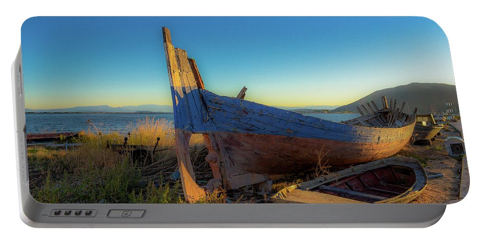 Landscape. Boats. Sunrise. Portable Battery Charger featuring the photograph Old Boats#2 by Yau Ming Low