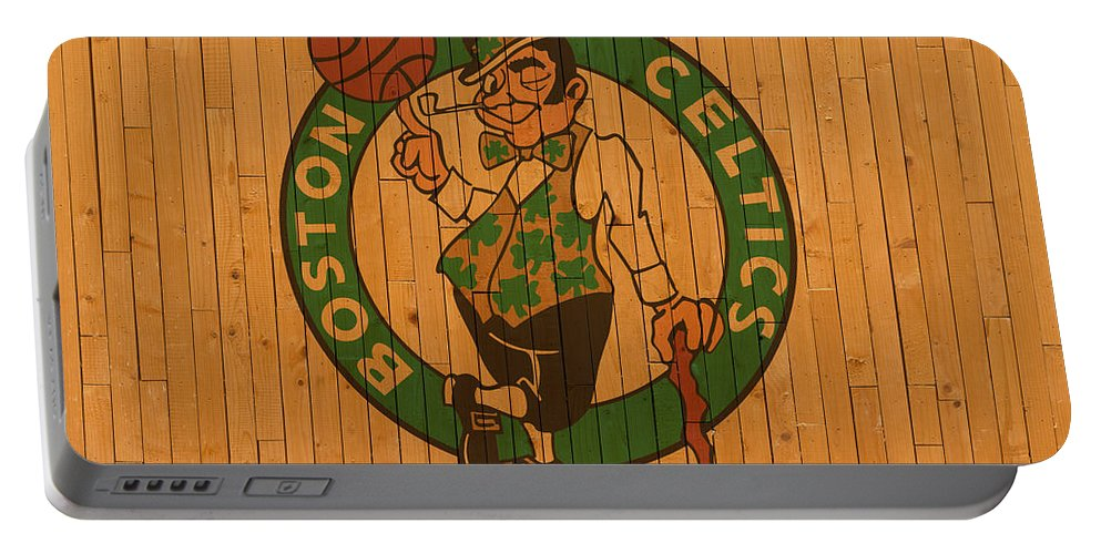 Old Portable Battery Charger featuring the mixed media Old Boston Celtics Basketball Gym Floor by Design Turnpike