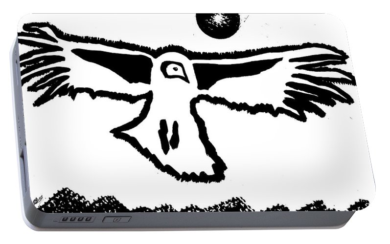 Condor Portable Battery Charger featuring the painting Old Boy Riding High Original Painting by Sol Luckman