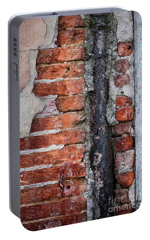Wall Portable Battery Charger featuring the photograph Old Brick Wall Fragment by Elena Elisseeva