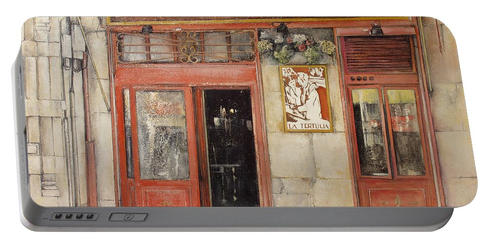 Cafe Portable Battery Charger featuring the painting Old Cafe- Santander Spain by Tomas Castano