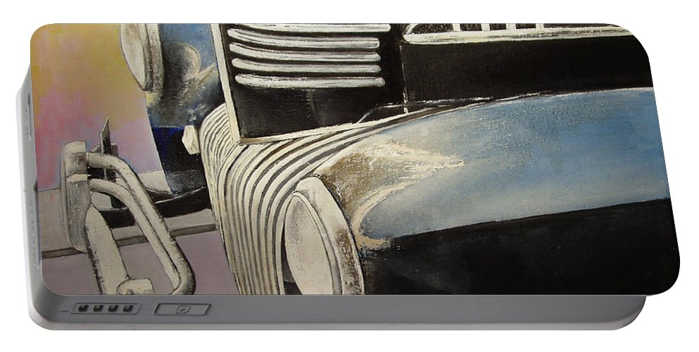 Old Portable Battery Charger featuring the painting Old Chrysler by Tomas Castano