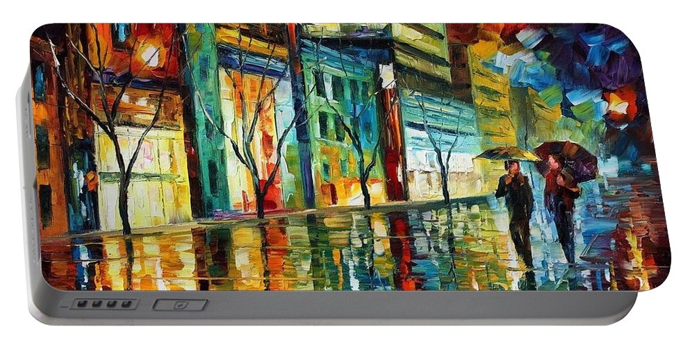 Afremov Portable Battery Charger featuring the painting Old City by Leonid Afremov