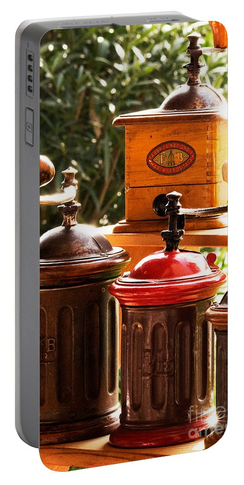 Coffee Portable Battery Charger featuring the photograph Old Coffee Grinders by Riccardo Maffioli