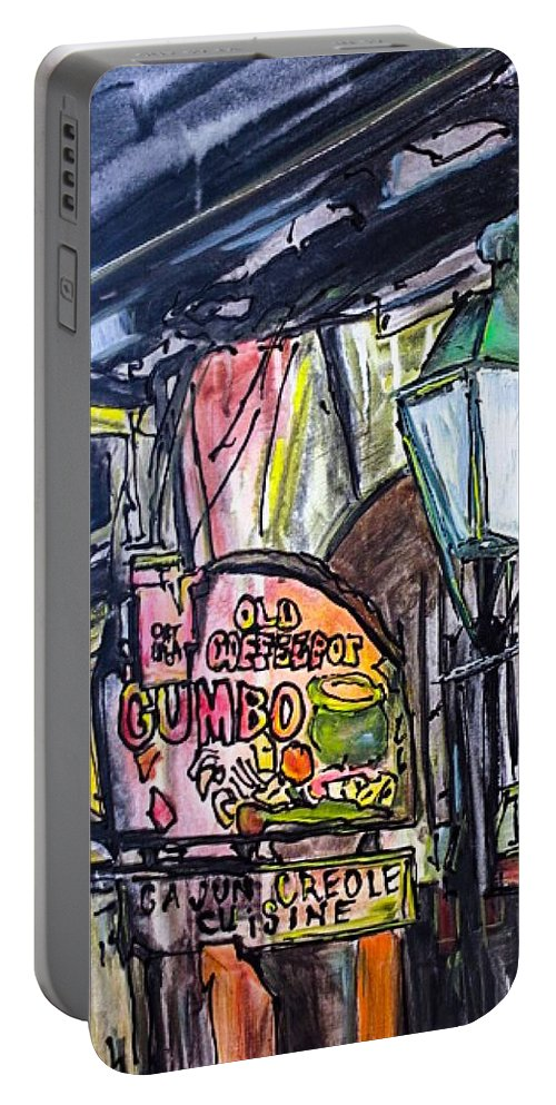 Old Coffeepot Gumbo Portable Battery Charger featuring the painting Old Coffeepot Gumbo by Paula Baker