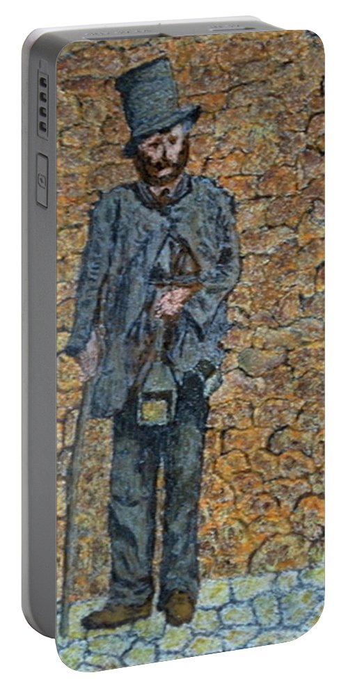 Cityscape Portable Battery Charger featuring the painting Old-crafts-the-lamplighter-italy-1800 by Vincent Consiglio