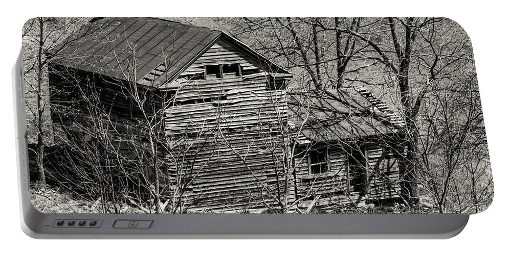 New Castle Virginia Wood Farmhouse Farmhouses House Houses Ruin Ruins Structure Structures Building Buildings Texture Architecture Door Doors Landscape Landscapes Black And White Sepia Portable Battery Charger featuring the photograph Old Deserted Farmhouse 3 by Bob Phillips