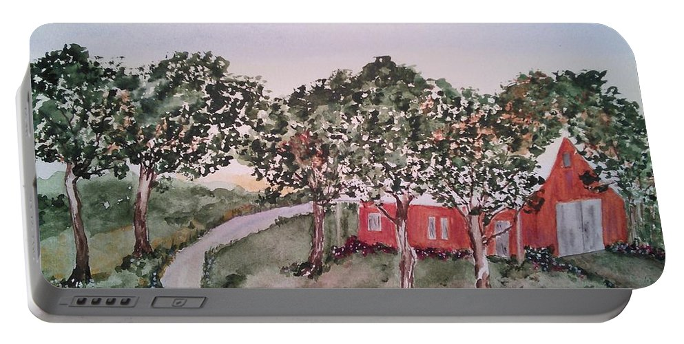 Farm House Portable Battery Charger featuring the painting Old Farm House by Susan Nielsen
