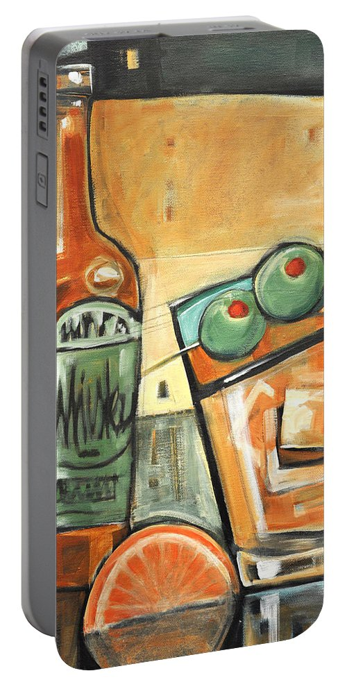 Olives Portable Battery Charger featuring the painting Old Fashioned Sweet With Olives by Tim Nyberg