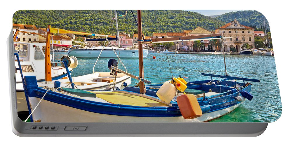 Starigrad Portable Battery Charger featuring the photograph Old Fishermen Harbor Of Stari Grad by Brch Photography