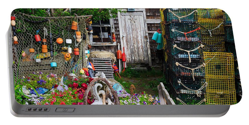 Cape Neddick Portable Battery Charger featuring the photograph Old Fishing House 2 by Emmanuel Panagiotakis
