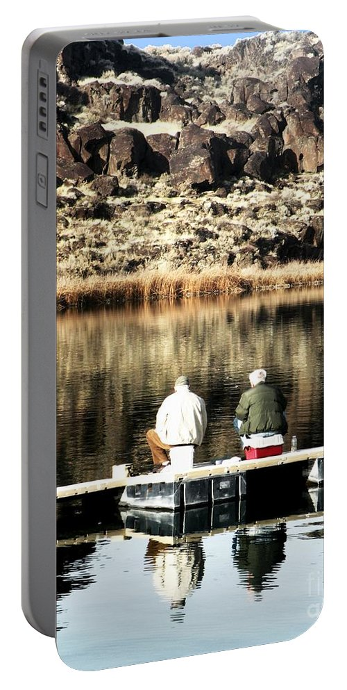 Old Friends Fishing Portable Battery Charger featuring the photograph Old Friends Fishing by Christina Stanley