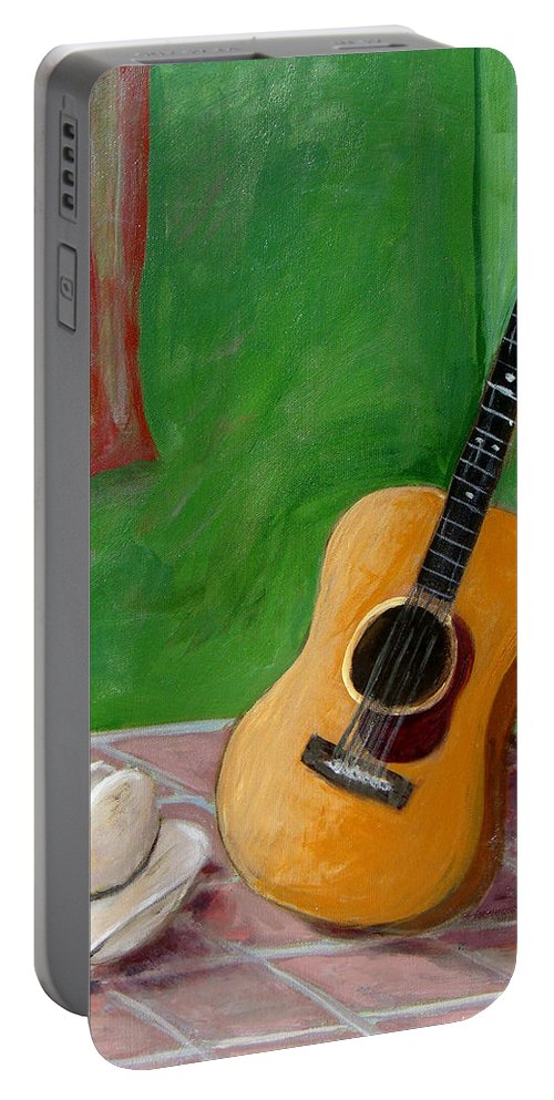 Guitar Portable Battery Charger featuring the painting Old Friends by Laurie Morgan