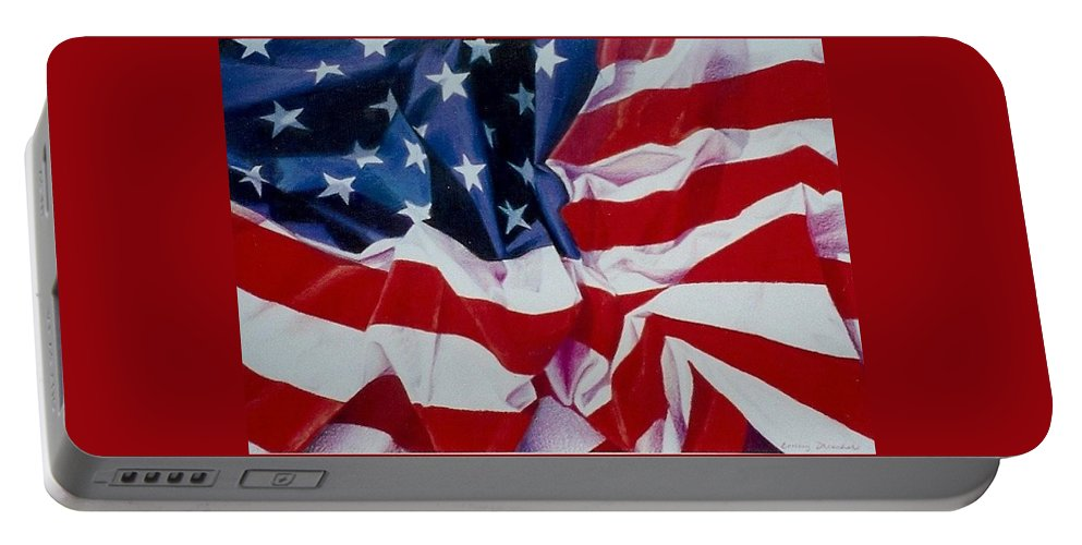 Red Portable Battery Charger featuring the painting Old Glory 1 by Constance Drescher