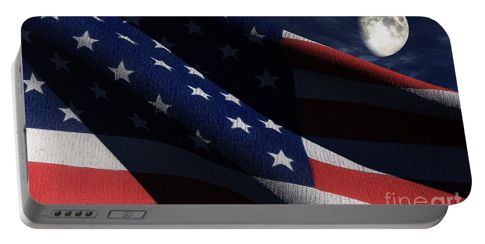Us Flags Portable Battery Charger featuring the digital art Old Glory 2 by Richard Rizzo