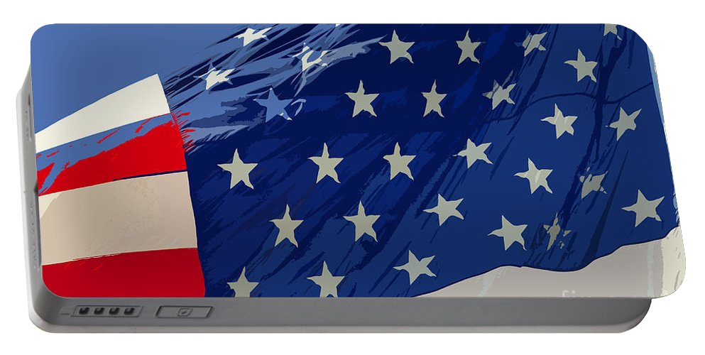 Old Glory Portable Battery Charger featuring the painting Old Glory by David Lee Thompson
