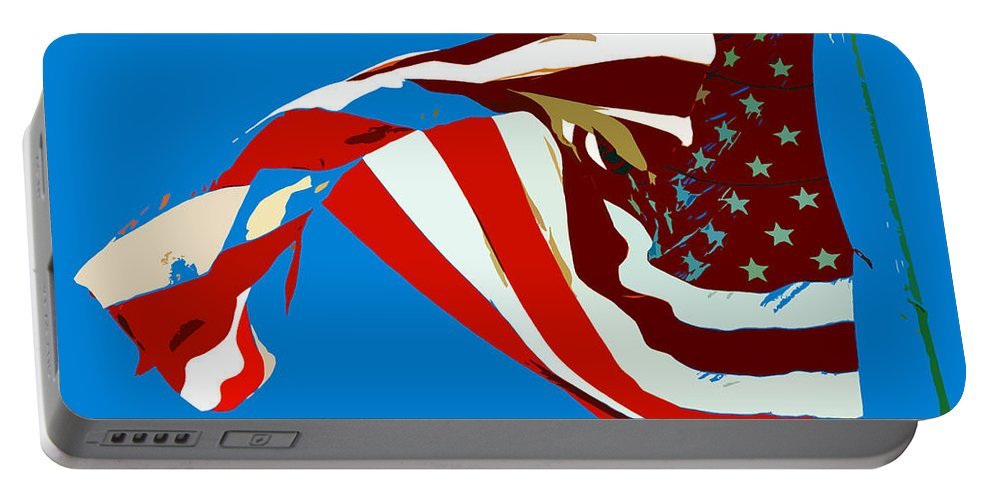 Old Glory Portable Battery Charger featuring the painting Old Glory Flying by David Lee Thompson