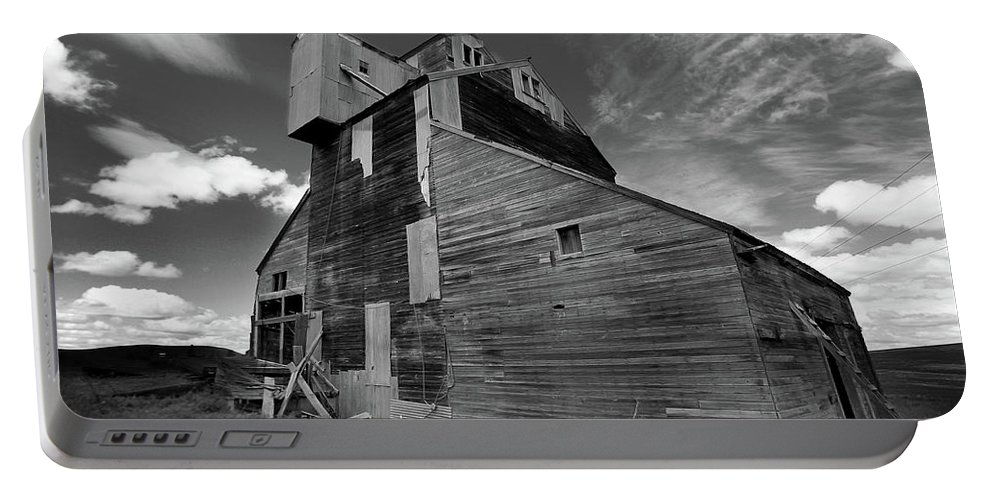 Black And White Portable Battery Charger featuring the photograph Old Granary by Jeff Greene
