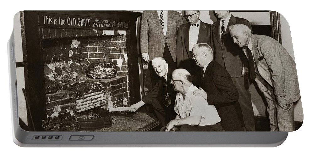 Wilkes Barre Portable Battery Charger featuring the photograph Old Grate That First Burned Anthracite Coal Successfully In The Old Fell House Wilkes Barre Pa by Arthur Miller