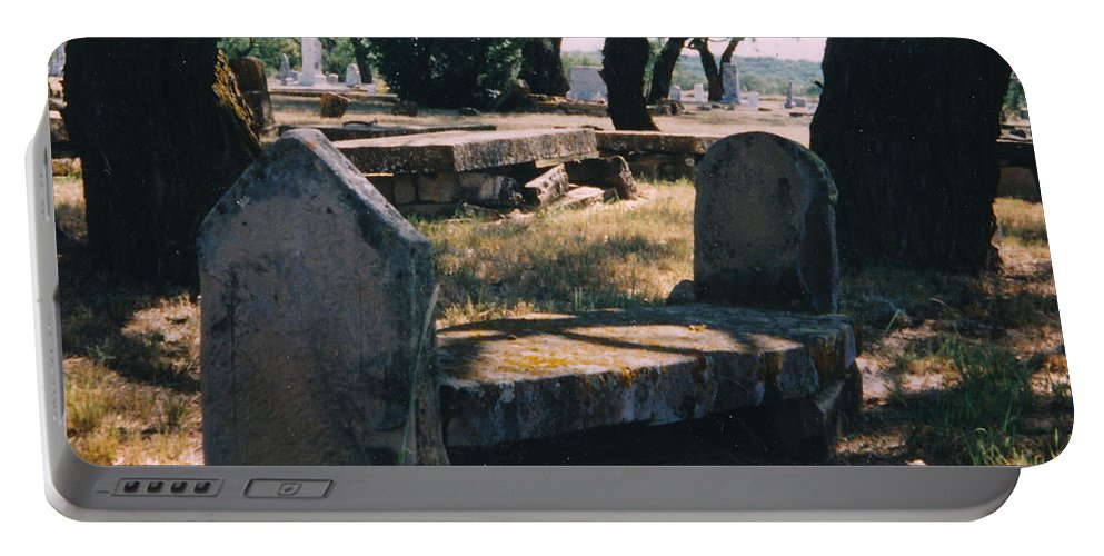 Grave Old Cementery Rocks Portable Battery Charger featuring the photograph Old Grave by Cindy New
