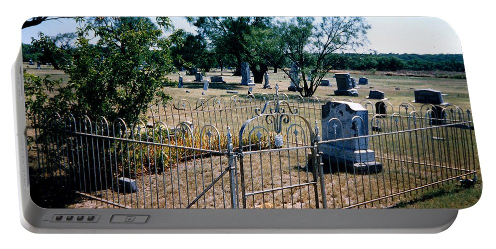 Fence Grave Headstone Stones Portable Battery Charger featuring the photograph Old Grave Site 2 by Cindy New